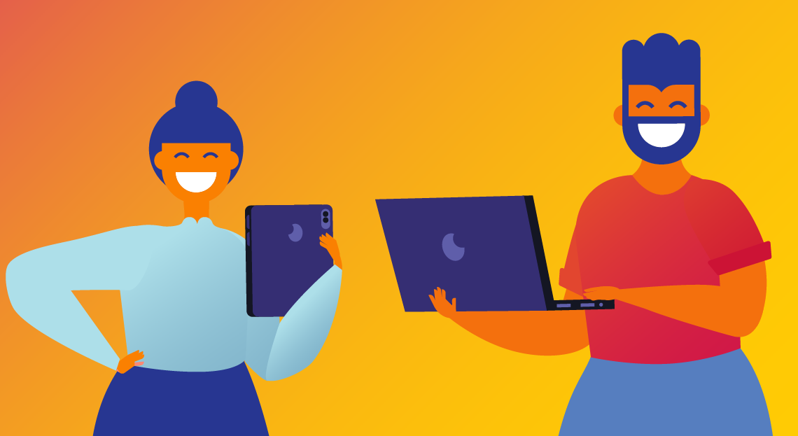 Illustration of a woman and man with big smiles holding laptops